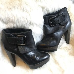 Coach Black Platform Leather Ankle Boot 6.5
